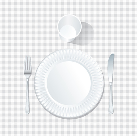 jowl: vector paper plate with plastic glass on white tablecloth Illustration