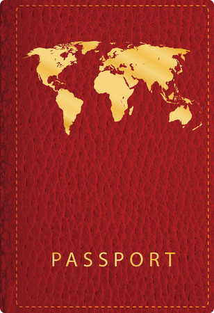 vector red leather passport cover