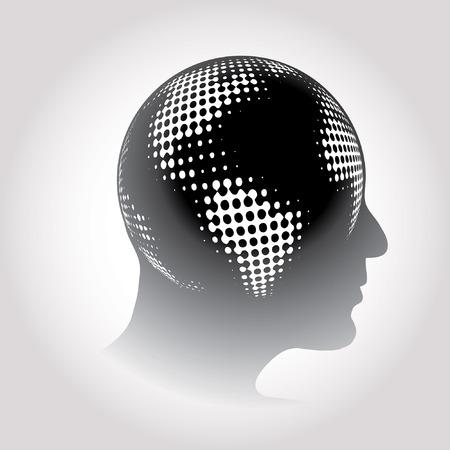 raster: vector halftone raster globe on human head