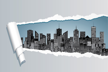 vector abstract composition with ripped paper and city skylines Stock Illustratie