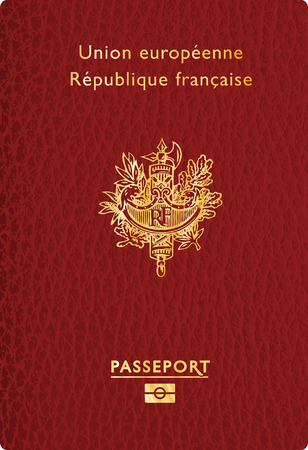 vector illustration of french leather passport