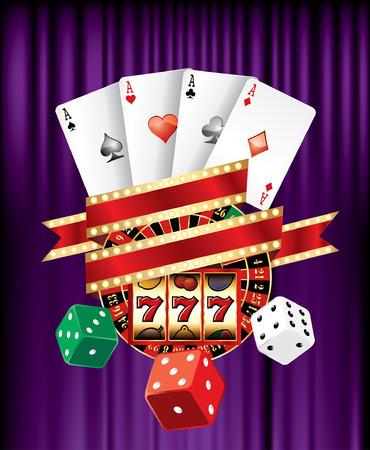 casino machine: casino and gambling icons on purple velvet with blank banner Illustration