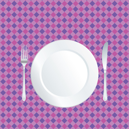 white plate on purple tablecloth Vector