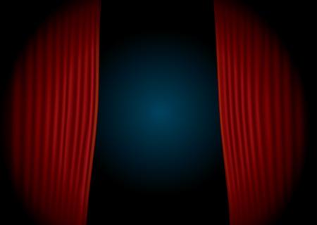 luz focal: etapa horizontal vector con la cortina de terciopelo rojo y la luz de punto Vectores