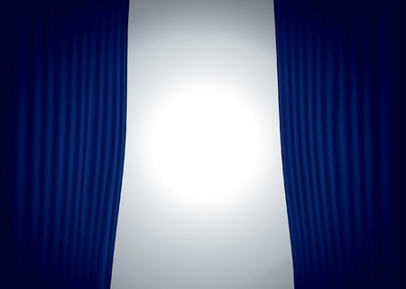 spot light: vector horizontal stage with blue velvet curtain and spot light
