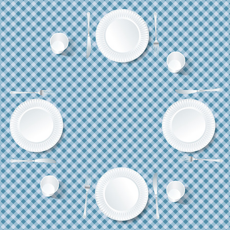 four plates on blue tablecloth Vector