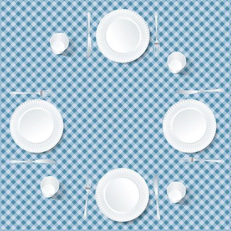 tablecloth: four plates on blue tablecloth