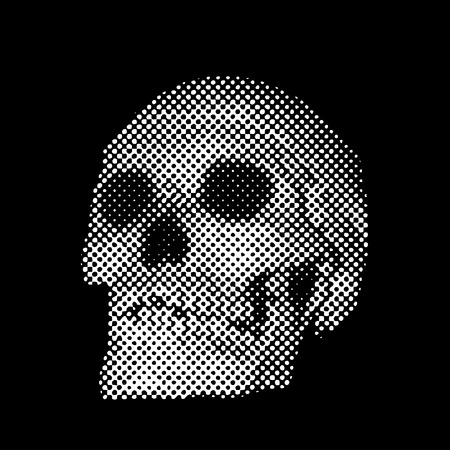 dotted: vector halftone dotted raster skull