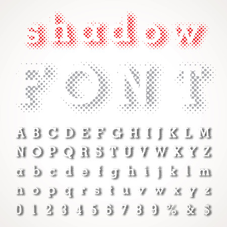 vector dotted shadow raster font Illustration