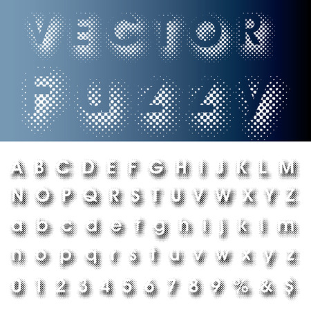 dimly: vector halftone dotted shadow raster font