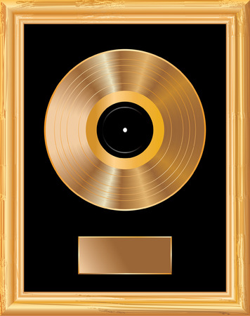 disk jockey: blank golden LP in golden frame