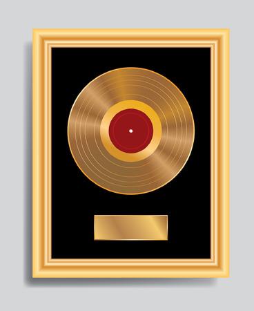 gold record: vector golden LP in golden frame