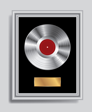 disc: vector realistic illustration of the blank platinum LP in silver frame