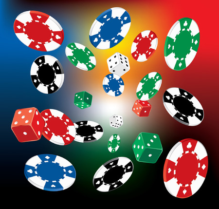 verb: vector Illustration of Poker Chips and dice on blurry background