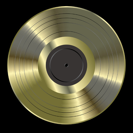 record label: vector realistic illustration of the blank golden LP