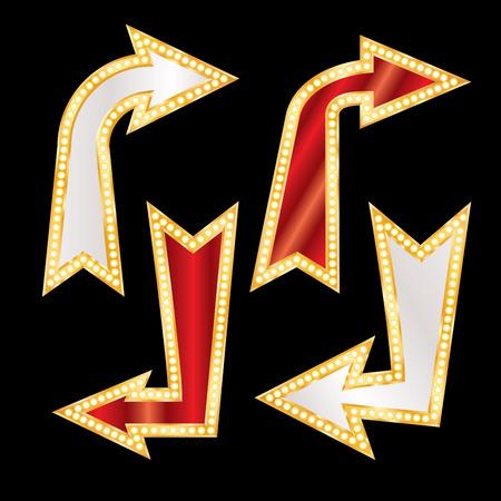vector set of golden blank corner arrows with bulb lamps 일러스트