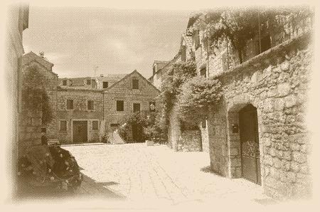 paving stones: vector halftone old Mediterranean stone houses, retro style Illustration