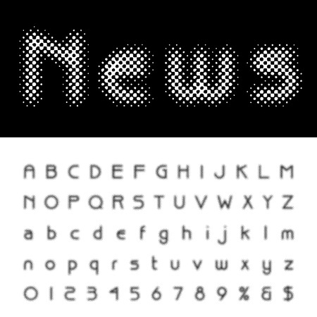 darkly: vector dotted halftone alphabet
