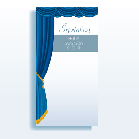 empty stage: vector layout of invitation card with blue stage curtain Illustration