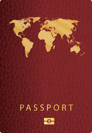 citizenship: vector red leather passport cover