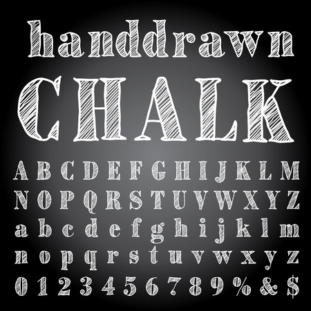 hand drawn chalk alphabet