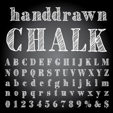 white board: hand drawn chalk alphabet