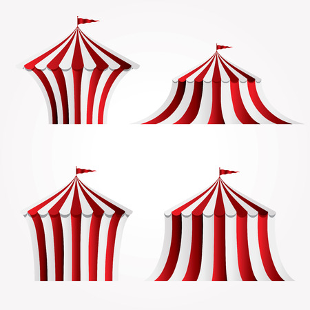 four variations of circus tent Illustration