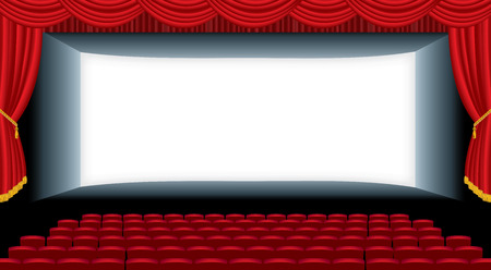 red theater curtain: vector illustration of the empty cinema auditorium