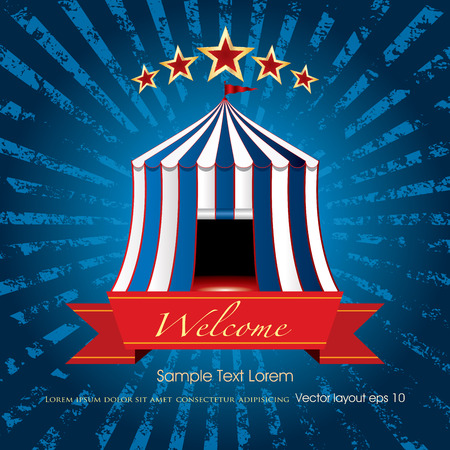welcome business: welcome banner with circus tent on blue grunge burst