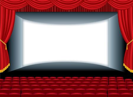 sipario chiuso: illustrazione vettoriale del cinema vuoto con auditorium Vettoriali