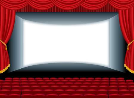vector illustration of the empty cinema with auditorium Vector