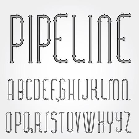 vector original font with pipelines Vector