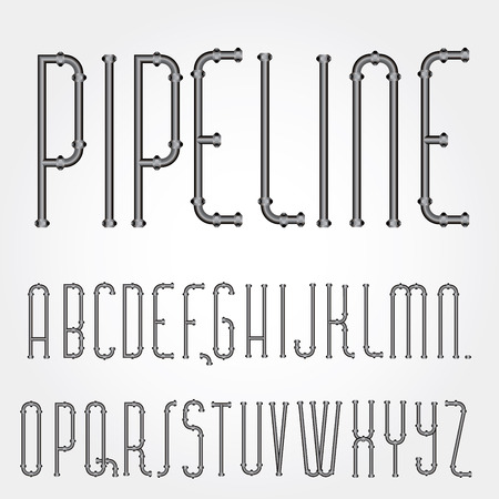 vector original font with pipelines Vector
