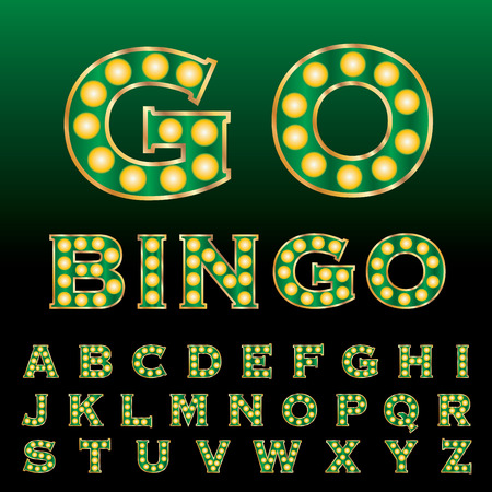 textual: vector green golden entertainment and casino letters with bulb lamps