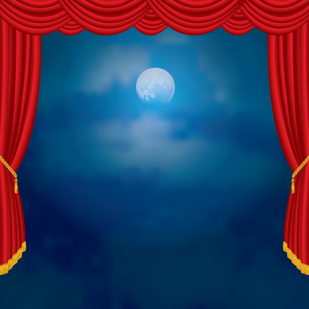 moonlight: moonlight on red curtain stage