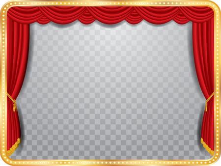 curtain theater: etapa del vector con la cortina roja, marco dorado y transparente sombra