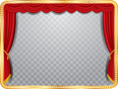 movie theater: vector stage with red curtain, golden frame and transparent shadow
