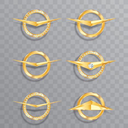 anillo de boda: nueve de oro vector signos de lujo