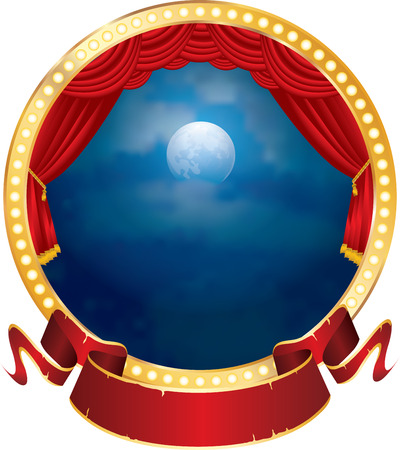 classical theater: vector abstract illustration of circle stage with red curtain, blank banner and moon