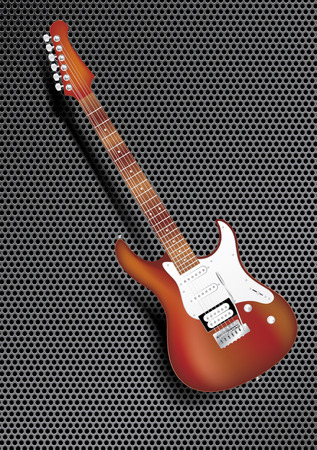 electric hole: vector wooden electric guitar on speakers background
