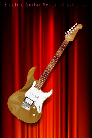 rosewood: vector wooden electric guitar on red velvet background