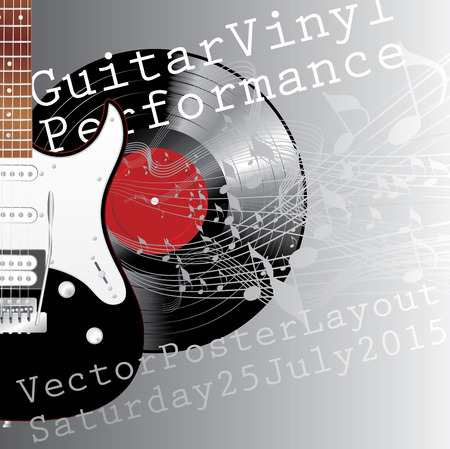accords: vector template with electric guitar, vinyl record and notes Illustration