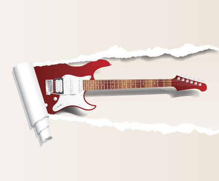 accords: vector template with electric guitar and torn paper