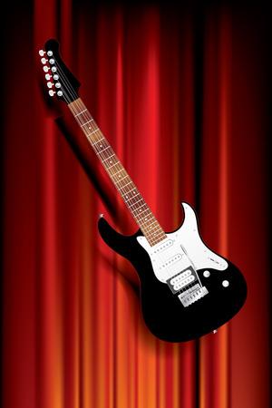 rosewood: black six-stringed electric guitar on red velvet