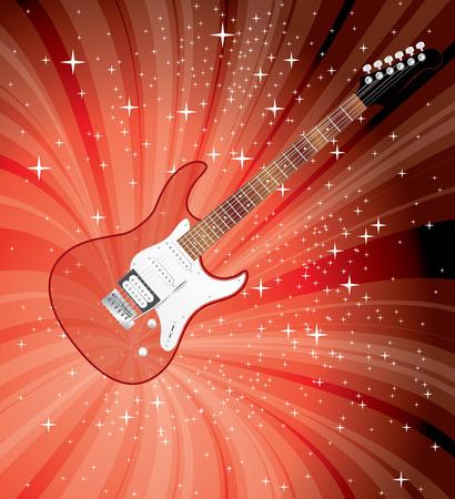 accords: vector transparent electric guitar on red starburst Illustration
