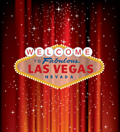 vector Las Vegas sign on red velvet with stars Illustration