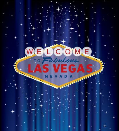vector Las Vegas sign on blue velvet with stars Illustration