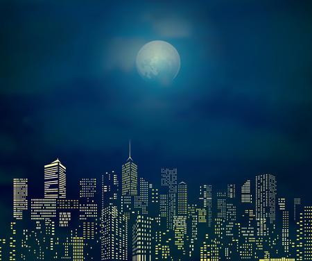Horizons de la ville avec la lune nuageux Banque d'images - 43737777