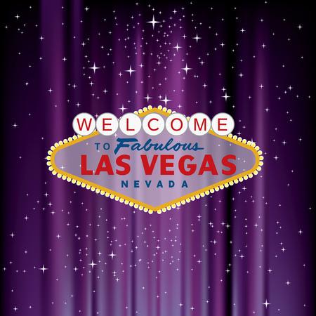 Las Vegas sign on purple velvet with stars 일러스트