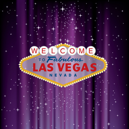 vegas sign: Las Vegas sign on purple velvet with stars Illustration